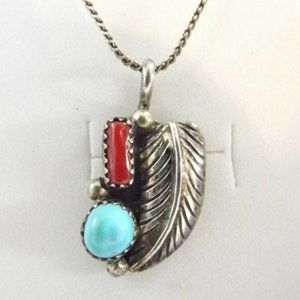 Turquoise & Coral Navajo Sterling Silver Pendant